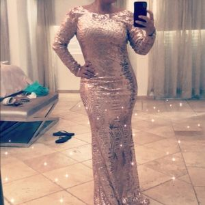 Rose Gold Sequin Mermaid Gown